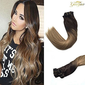 Googoo Remy Human Hair Extensions Clip in Hair Extensions Ombre Dark brown to Light brown fading to Ash Blonde #18 Balayage Clip in Human Hair Extensions 18...