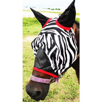 Equine Horse Fly Mask Summer Spring Airflow Mesh UV Mosquitoes Zebra Red 73259