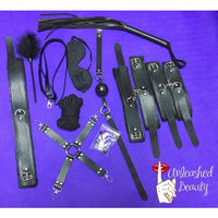 Sexual Restraints Full Set, for Him and Her, Black Leather Full 10 Piece kit is Made of only The Highest Quality Material. for BDSM, S&M, Foreplay. Comes with Free Sex Dice Get It Now on Sale