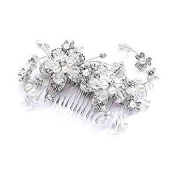 Mariell Vintage Wedding Bridal Hair Comb with Austrian Crystals, Light Ivory Pearls & Rhinestone Sprays