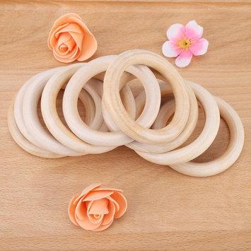 Yosoo 10PCS Wood Teether Rings Baby Infant Natural Wood Teething Ring Teether Toy Wooden Bracelet DIY Craft