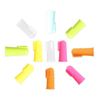 Tritina Finger Toothbrush and Oral Massager, Toothbrush, Dental Care for Dog, Cat or Small Pet Food Grade Silicone Pack-12 (Yellow, Transparency, Pink, Blue, Gold, Green)