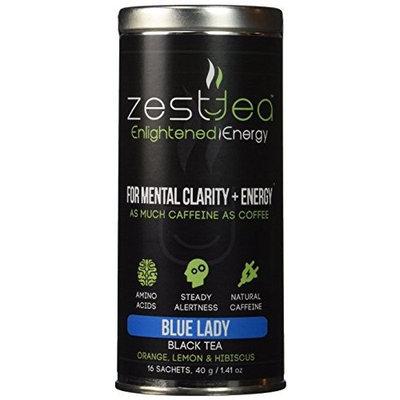 Zest Tea Energy Tea - High Caffeine Blue Lady Black Tea - 150 Mg Of Caffeine Per Bag (16 Tea Sachets)