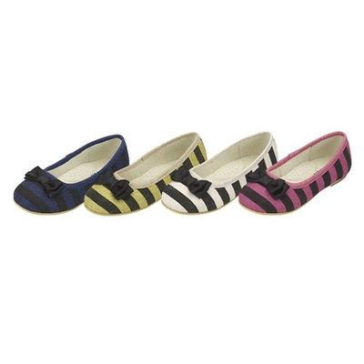 Toddler Little Girls Lime Green Blue Black Stripe Flat Shoe 5T-2