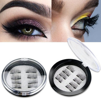 Magnetic False Eyelashes - 2 Pairs (8 Pieces) Ultra Thin 3D Fiber Reusable Best Fake Lashes Extension for Natural, Perfect for Deep Set Eyes & Round Eyes (8 pcs)