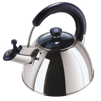 Oggi Satin Stainless Steel Whistling Tea Kettle with Glass Lid