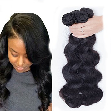 Dream Show Brazilian Human Hair Body Wave 100% Hair Extensions Weft Weave Natural Color 3 Bundles/lot, 300g Total (100g Each) Grade 7A(8 10 12)