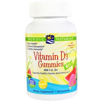 Nordic Naturals Vitamin D3 Gummies Kids Wild Watermelon Splash -- 400 IU - 60 Gummies