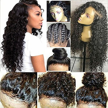 Freyja Glueless 13x6 Lace Front Human Hair Wigs for Black Women Natural Hairline Brazilian Virgin Human Hair Wigs Deep Curly Wave 130% density Remy Hair Lace Wig with Baby Hair(16 inch,1B)