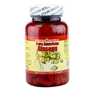 Woohoo Natural Pure American Ginseng Capsules, 500mg 100 Capsules