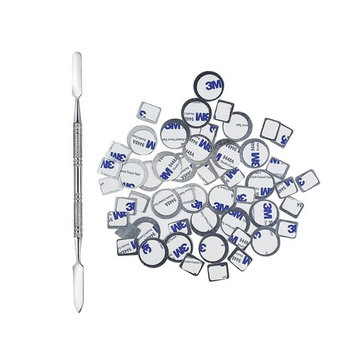 Allwon 56Pcs Metal Stickers for Magnetic Palette Empty Eyeshadow Makeup Palette + Depotting Spatula (28Pcs Round + 28Pcs Square)