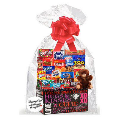 Happy Valentine's Day Sweet Heart Birthday Anniversary Mothers / Fathers Day Hugs & Kisses Thinking Of You Cookies, Candy & More Care Package Snack Gift Box Bundle Set with Plush Bear