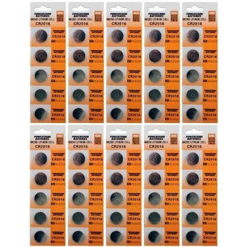 50 X Powertron CR2016 3 Volt Lithium Coin Battery button cells (10 X packs of 5)