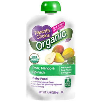Parent's Choice Baby Food, Stage 2, Pear Mango & Spinach, 3.5oz Pouch