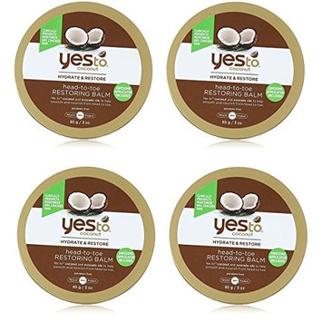 Yes To Coconut Hydrate & Restore Head-to-toe Restoring Balm, 3 Oz (Pack of 4) + FREE Old Spice Deadlock Spiking Glue, Travel Size, .84 Oz