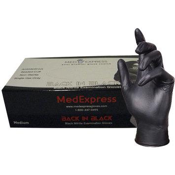 Back In Black Medical Grade Nitrile Disposable Gloves N-BPF-400-L-BX, Black (Pack of 100)