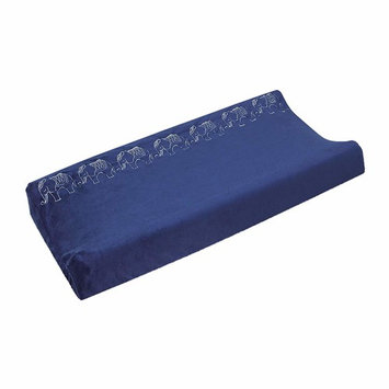NoJo Serendipity Navy with Ivory Elephants Super Soft Changing Pad Cover, Navy/Grey