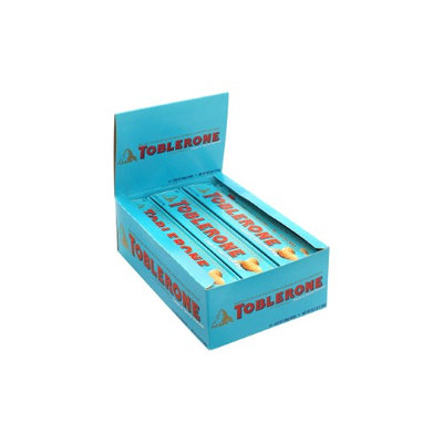 TOBLERONE Milk Chocolate and Crunchy Salted Almond Bar, 3.52 oz, 12 Count