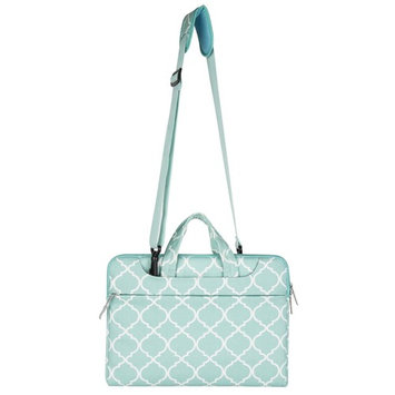 MOSISO Laptop Shoulder Bag Briefcase, Quatrefoil/Moroccan Trellis Canvas Fabric Case Sleeve Cover Only for Macbook 12-Inch with Retina Display (2017/2016/2015 Release), Hot Blue
