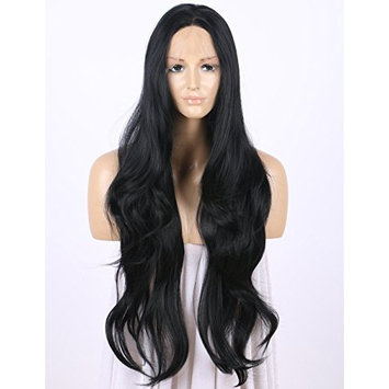 Black Lace Front Wigs, Long Wavy Synthetic Wig for Women Scheherezade Black Lace Wig Half Hand Tied 22 Inches