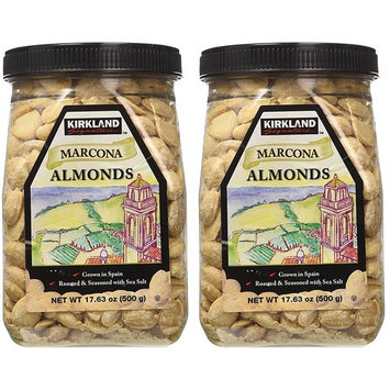 Kirkland ldaLpE Marcona Almonds, Roasted and Seasoned with Sea Salt, 17.63 Ounce (2 Pack)