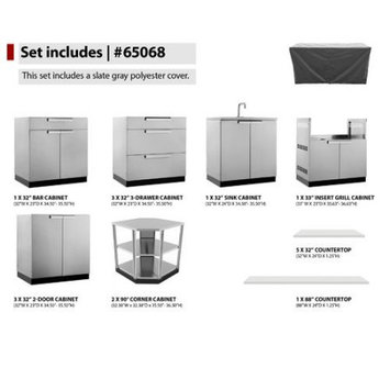 Newage Products Stainless Steel Classic 17-Piece 362.25x36x24 in. Outdoor Kitchen Cabinet Set with Covers