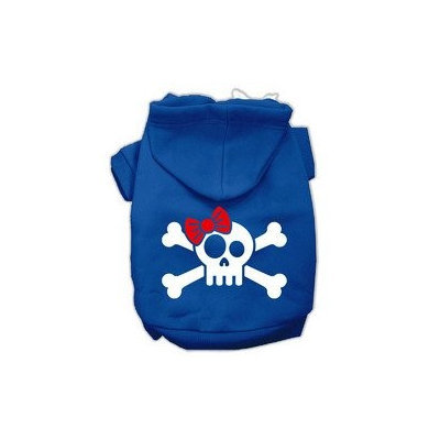 Mirage Pet Products Skull Crossbone Bow Screen Print Pet Hoodies Blue Size Lg (14)