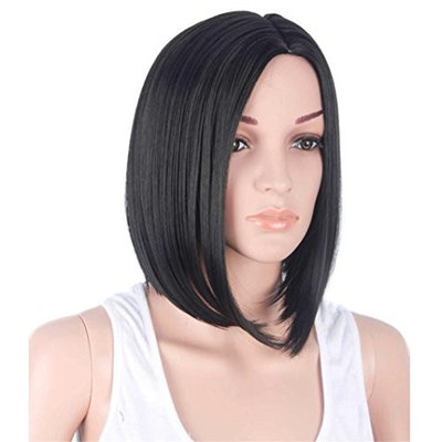 Huphoon Natural Synthetic Wigs Mid-Long Straight Bob Yellow Wigs Heat Friendly for Costume