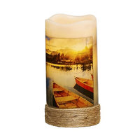 Cc Home Furnishings Pack of 4 Nautical Canoe LED Lighted Wax Flameless Pillar Candles with Timer 6