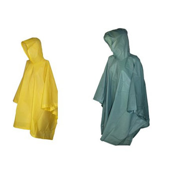 totes ISOTONER Unisex Rain Poncho with Hood (Pack of 2), Green/Yellow