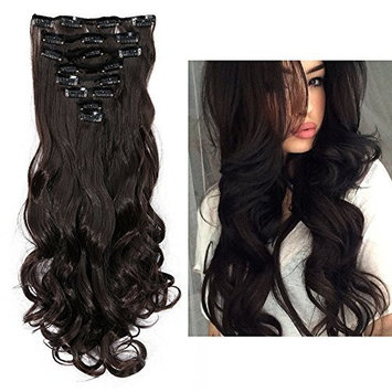 24 Inches 60cm Dark Brown 8pcs Full Head 18clips Curly Hairpiece Clip in Hair Extensions Cosplay Party Women Hair