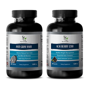 weight loss help - ANTI GRAY HAIR – ACAI BERRY 1200 - acai organic - 2 Bottles - Combo