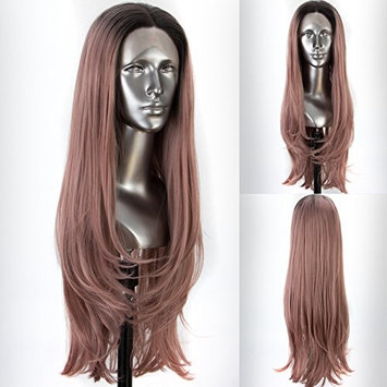 Persephone Ombre Pink Lace Front Wig Glueless Wavy Synthetic Wigs 2 Tones Ash Pink Wig with Middle Part Heat Resistant 22 Inches