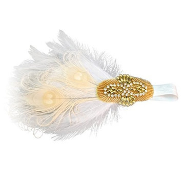 MonkeyJack Gold Beads Headpiece White Beige Feather Flapper Headband Fascinator Fancy Dress Costume Hair Accessory