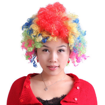 HDE Neon Color Afro Curly Clown Halloween Costume Party Wig Fake Goofy Unisex Hair