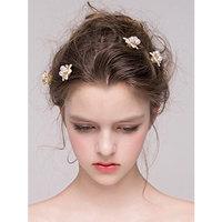 Missgrace Bridal Gold Flower Hair Pins Women Rhinestone Headpiece Wedding Leaf Hair Pins Clips Bridal Hair Jewelry Wedding Hair Accessories Set of 5