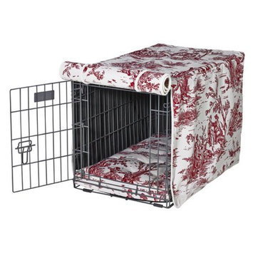 Bowsers Luxury Pet Crate Cover Raspberry Toile, Size: Medium