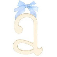 Arrivals Wooden Letter A with Blue Solid Ribbon, Cream