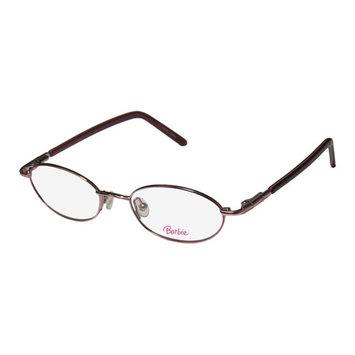 Barbie 314 Childrens/Kids/Girls Oval Full-Rim Pink / Cherry Oval Classic Design Hip For Girls Frame Demo Lenses 46-17-125 Flexible Hinges Eyeglasses/Spectacles