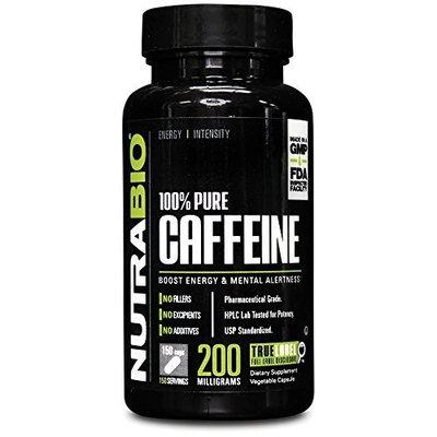 NutraBio 100% Pure Caffeine (200mg) - 150 Vegetable Capsules