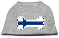 Mirage Pet Products 5114 XSGY Bone Shaped Finland Flag Screen Print Shirts Grey XS 8