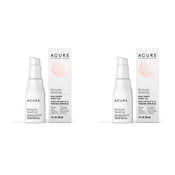 Acure Organics Seriously Soothing Blue Tansy Night Oil (Pack of 2) With Blue Tansy and Jasmine, For Normal to Sensitive Skin, 1 fl. oz.