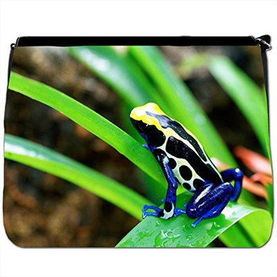Close-up Of Costa Rican Cobalt Dyeing Dart Frog Black Large Messenger School Bag [Close-up Of Costa Rican Cobalt Dyeing Dart Frog]