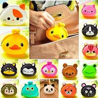 OURBAG Women Girls Wallet Kawaii Cute Cartoon Animal Silicone Jelly Coin Bag Purse Kids Gift Squirrel