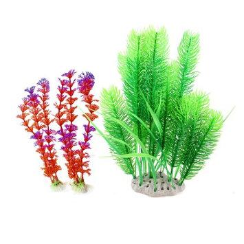 3 Pcs Green Red Plastic Simulation Water Plants 13.2
