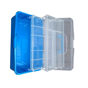 ROSENICE Cosmetic Cases Storage Hand Box Portable Organizer Case with 3 Layers (Blue)