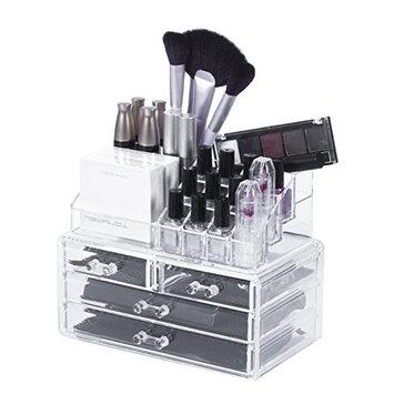 Makeup Organizer Cosmetic Storage Box - AWAYTR Acrylic Rack Shelf Lipsticks Brushes Cosmetics Organizer Necklace Bracelet Jewelry Holder