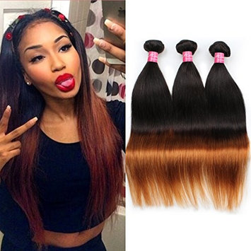Mink Hair Brazilian Ombre Straight Hair (12 12 12) 100% Virgin Human Ombre Hair Extensions 1b/30 Ombre Color 100g/bundle