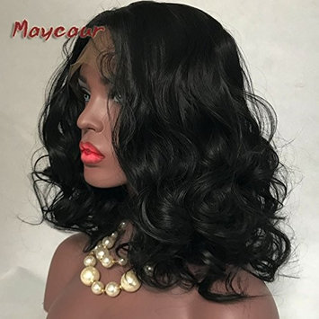 Maycaur Synthetic Lace Front Wig Black Short Bob Hair Short Wavy Wigs with Baby Hair For Black Women Glueless Heat Resistant Fiber Hair