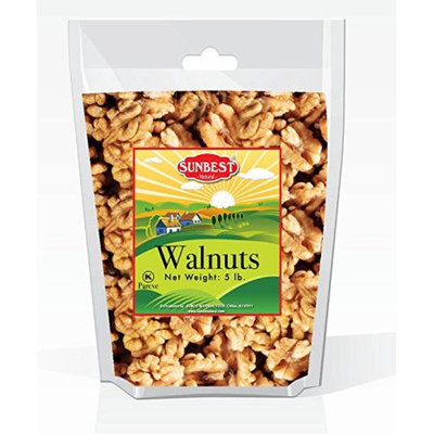 SUNBEST Natural Shelled Raw California Walnuts in Resealable Bag